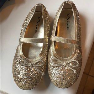 Girls Gold Glitter Nina Ballet Flat